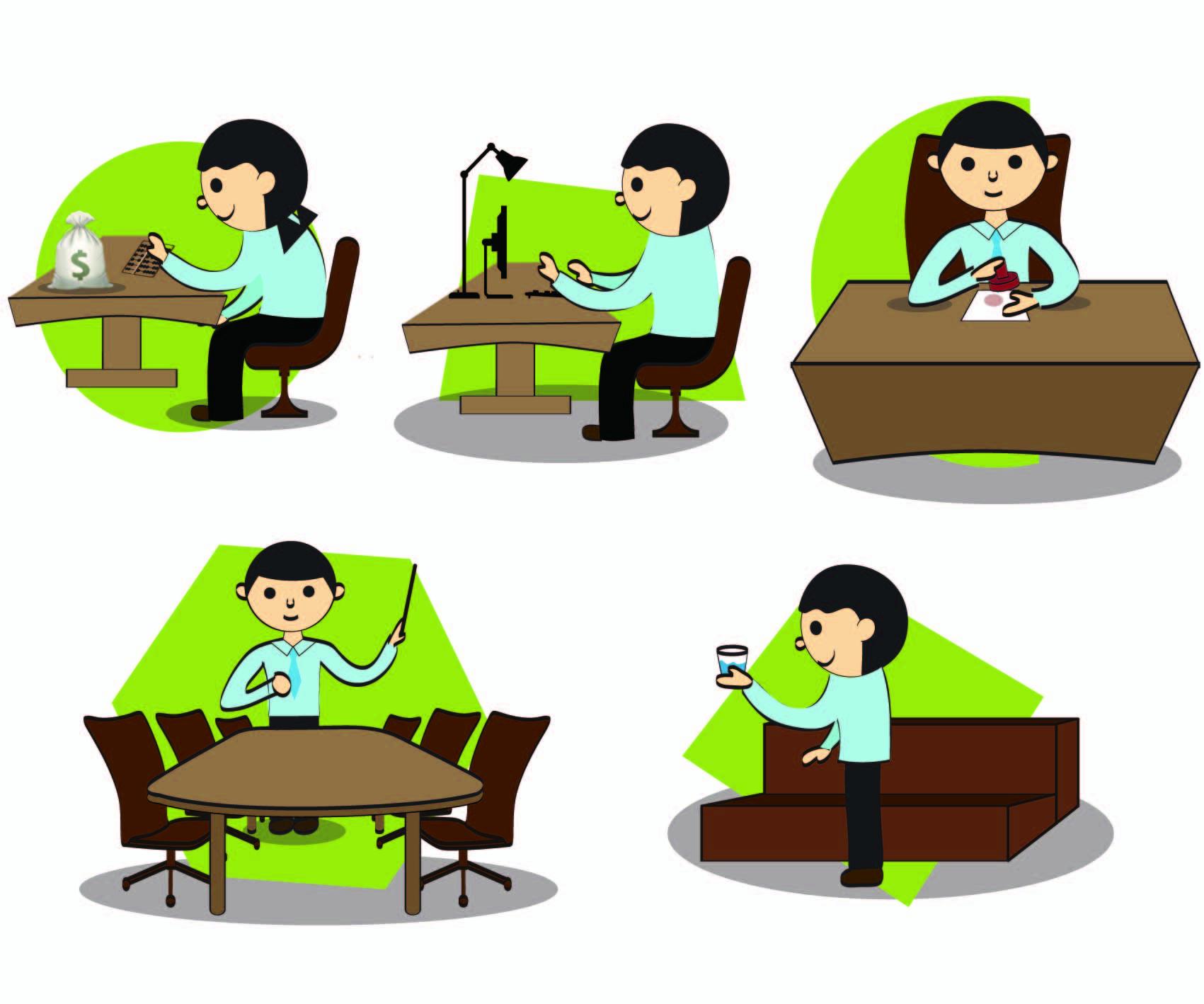 Gambar Kartun Orang Bekerja Di Kantor